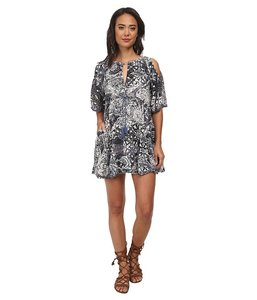 Free People short dress Indigo Combo Cold Tassels Cotton Keyhole Cut-out on Tradesy