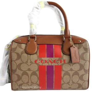Coach Mini Bennett Varsity Signature Stripe Crossbody Satchel in Khaki (Brown) / Watermelon