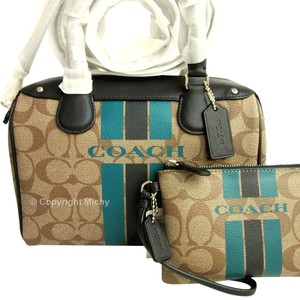 Coach Mini Bennett Varsity Satchel in Khaki (Brown) / Midnight (Navy)