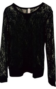 No Boundaries Black Floral Lace Sweatshirt Top XXL Flower Pullover Banded Sweater