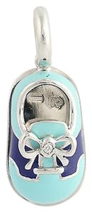 Aaron Basha Aaron Bash Saddle-style Baby Shoe Charm- 18k White Gold Enamel Diamond .01 Ctw