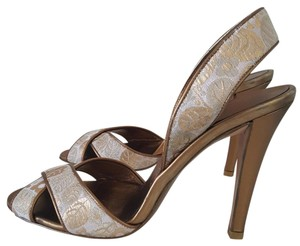 Salvatore Ferragamo Heels Canvas Sandals Gold Pumps