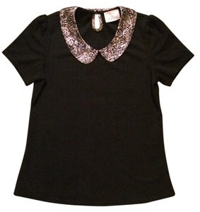 Urban Outfitters Peter Pan Collar Top black