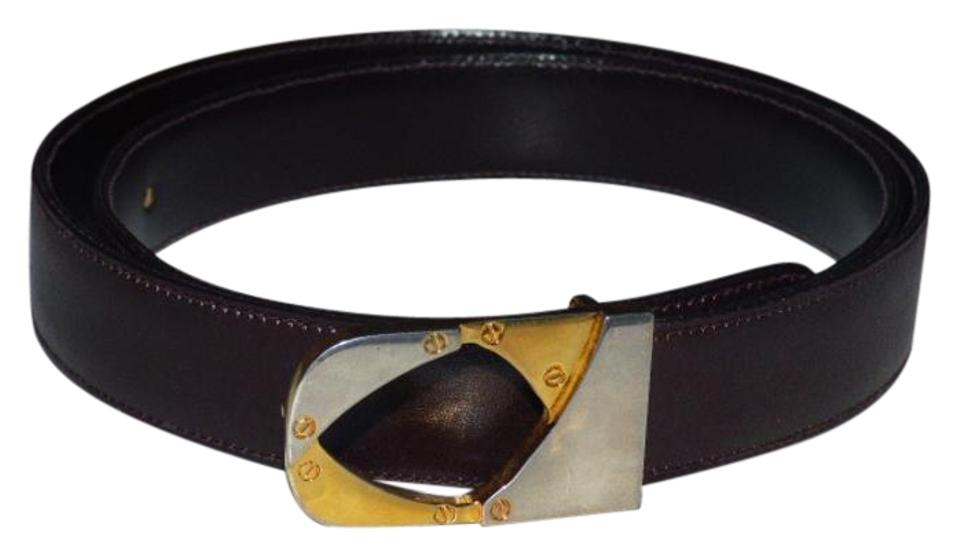 492d4a8227f Gucci Brown Leather with Two Tone Buckle Vintage Belt Designer Belt ...