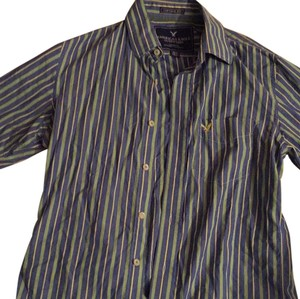 American Eagle Outfitters Button Down Shirt Mens Blue/green/yellow pin stripe