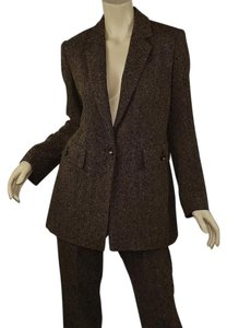 Dana Buchman Beige & Black Herringbone Boucle Wool Tweed Blazer & Pant Set