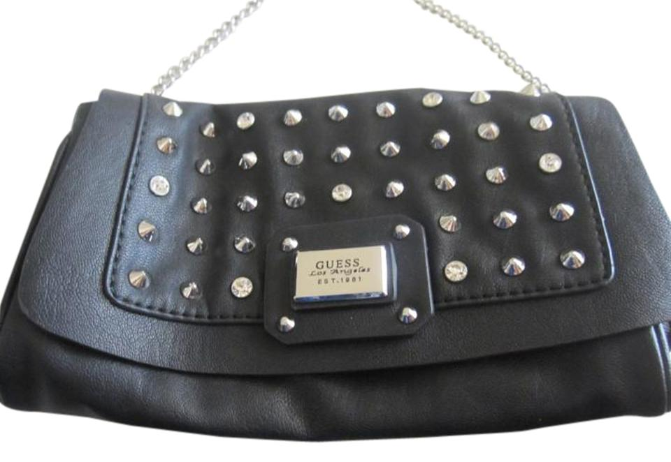 00f63a085f31 Guess Metal Studded Crystals Luxury Hand Purse Black Leather Clutch ...