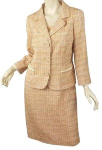 Dana Buchman Cotton Tweed Crochet Trim Jacket & Sheath Dress Set M 8/10