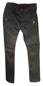 Balmain Skinny Pants suede biker hunter green