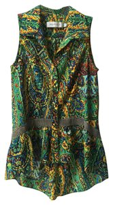 T-Bags Los Angeles Sleeveless Viscose High-low Pleated Hem Top Green/multi