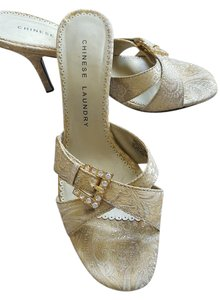 Chinese Laundry Gold & ivory Mules