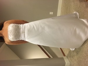 Alfred Angelo White Satin and Lace Modern Wedding Dress Size 10 (M)