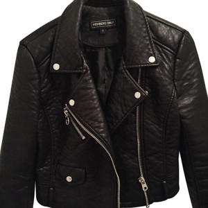 Members Only Black / Silver Leather Jacket