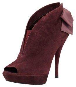 Vera Wang Bow Back Leather Suede Wine Boots