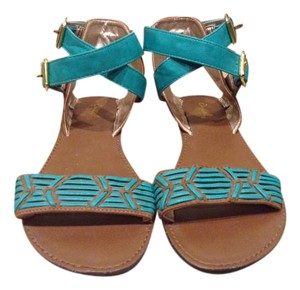 Qupid Bohemian Faux Leather Teal/Tan Sandals