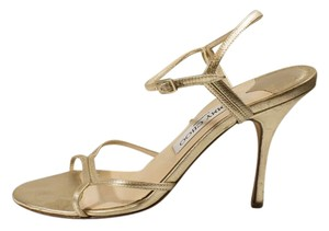 Jimmy Choo Stiletto Heel Gold Sandals