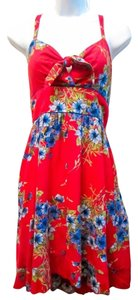 Bar III short dress red Floral Mini on Tradesy