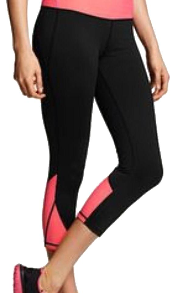 0c681578a2 Victoria's Secret Black Pink Orange Knockout Mesh Crop Leggings Xs  Activewear Sportswear