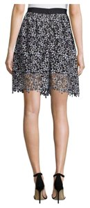 self-portrait Daisy Lace A-line Skirt black/white