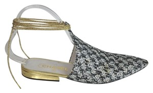 Chanel Runway Arabian Night Black and White Sandals