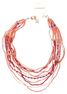 BCBGMAXAZRIA coral beaded gold necklace