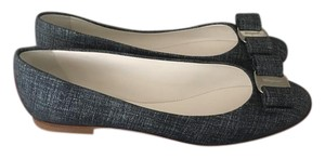 Salvatore Ferragamo Patent Leather Bow Blue Flats