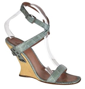 ALAÏA Alligator Wedges Blue Sandals