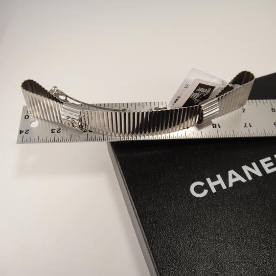 Chanel 16S Large Silver Wavy Metal Logo Barrette Hair Clip Pin $900 #786