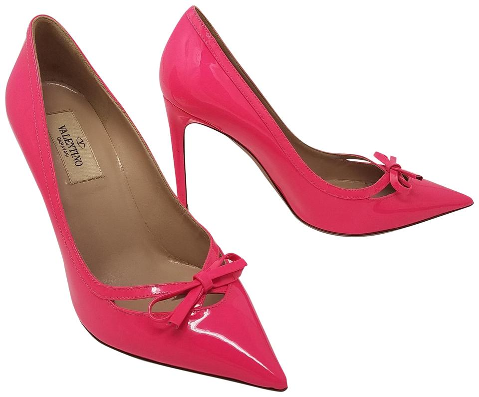 Valentino Patent Leather Bow Rockstud Pointed Toe Gold Hardware Pink Pumps  Image 0 ...