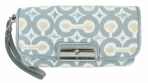Coach F45378 Kristin Large Limited Edition Op Art Wristlet in gray, beige, white, peach with silver hardware