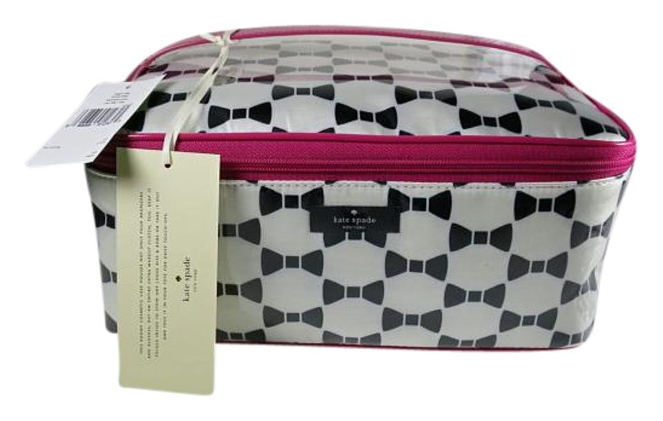 cfadead7a18b Kate Spade White Black & Pink Whitehall Court Large Colin 2 Piece Makeup  Cosmetic Bag 32% off retail