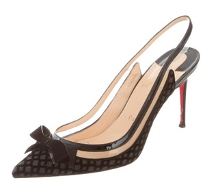 Christian Louboutin Bow Pointed Toe Mesh Patent Leather Black Pumps
