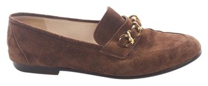Chanel Vintage Suede Chain Loafers Brown Flats