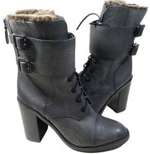 Tory Burch Elastic Goring Leather Polyester Double Buckle Distress Black Distress Boots