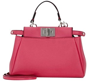 Fendi Peekaboo Fuschia Satchel in pink
