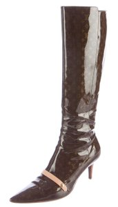 Louis Vuitton Pointed Toe Patent Leather Gold Hardware Lv Monogram Brown, Beige Boots