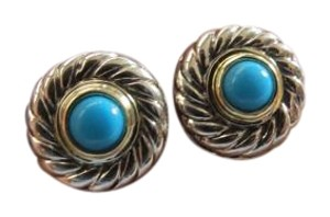 David Yurman SS/14K Yellow Gold Small Cabochon Turquoise Cookie Earrings