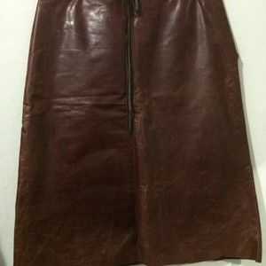 Banana Republic Vintage Oxblood Leather Pencil Genuine Leather Skirt Burgundy