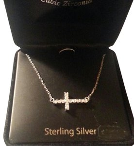 Truly Radiant New Sterling Silver & CZ Side Way Cross Necklace w/Gift Box