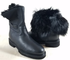 Vince Alpaca Fur Rubber Sole Black Boots