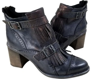Free People Zip Fringe And Buckle Stacked Heel Distressed Leather Rugged Look Black Boots