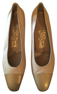 Salvatore Ferragamo Gold/Cream Flats