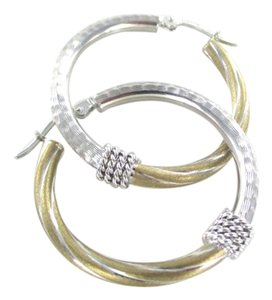 14KT YELLOW WHITE GOLD EARRINGS HOOP DIAMOND CUT FINE JEWELRY JEWEL TWO TONE