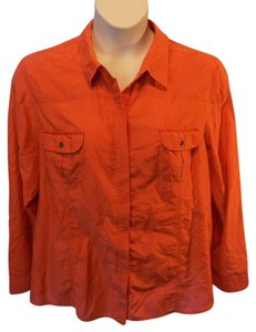 Chico's Plus Size Adjustable Sleeve Solid Button Fornt Casual Button Down Shirt Orange