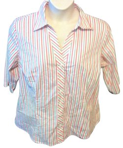 Worthington Plus Size Casual Cotton Striped Button Down Shirt Multi-Colored