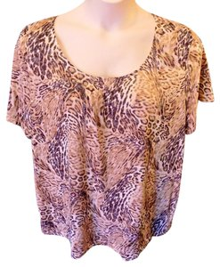 Kim Rogers Plus Size Casual Cotton Top Brown