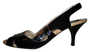 Luciano Padovan Leather Patent Sling Peep Toe Sandal black Pumps