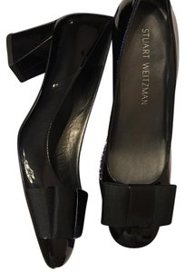Stuart Weitzman Black crushed patent Wedges