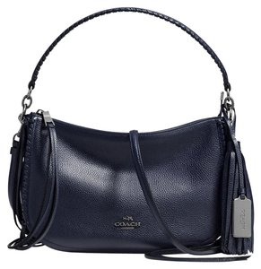 Coach Leather Navy Silver Chelsea Cross Body Bag