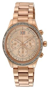 Michael Kors Women's Rose Gold-Tone Brinkley Chronograph Glitz Watch, MK6204